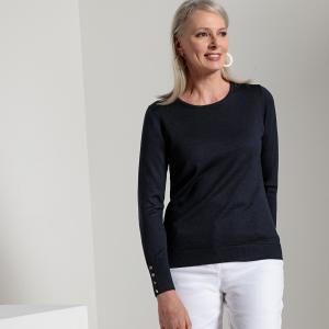 Пуловер однотонный с круглым вырезом, трикотаж из 50% шерсти мериноса ANNE WEYBURN. Цвет: паприка,темно-бежевый,экрю