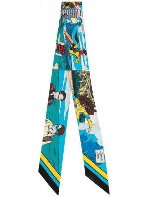 Узкий платок pre-owned с принтом Hermès. Цвет: синий
