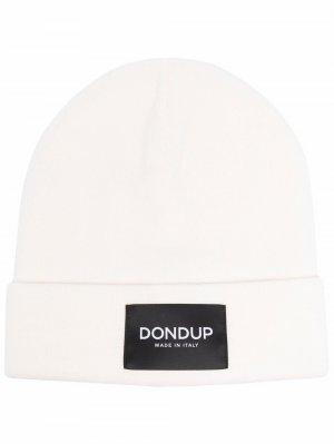 Шапка бини с нашивкой-логотипом Dondup. Цвет: белый
