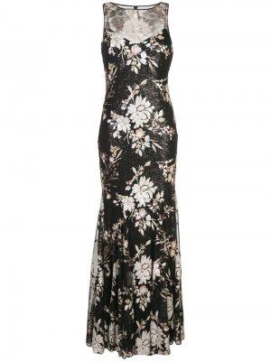 Длинное платье с пайетками Badgley Mischka. Цвет: черный
