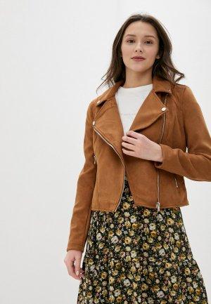 Куртка кожаная Concept Club. Цвет: коричневый