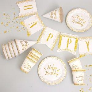 Набор бумажной посуды happy birthday, 6 тарелок , 1 гирлянда стаканов, колпаков Страна Карнавалия
