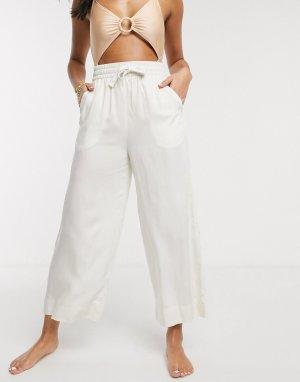 Светлые пляжные брюки с завязкой на талии -Белый Monki