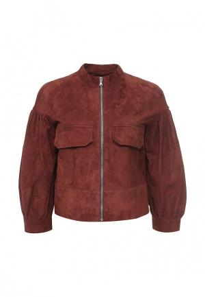 Куртка кожаная Sportmax Code. Цвет: коричневый