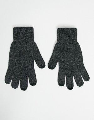 Темно-серые перчатки со вставками для работы сенсорным экраном -Серый ASOS DESIGN