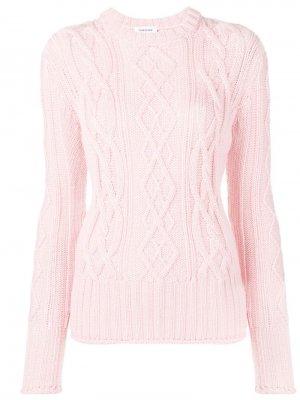 Пуловер вязки с косами и трехцветными полосками Thom Browne. Цвет: розовый