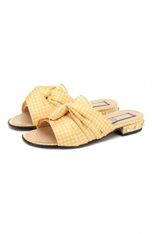 Текстильные шлепанцы N21. Цвет: жёлтый