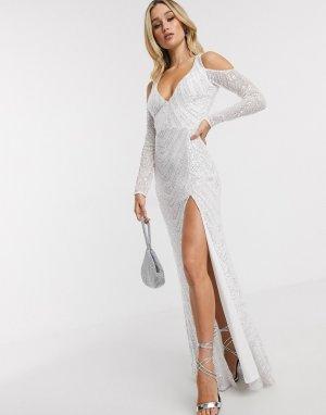 Белое платье макси с вырезами на плечах, разрезом и плечах -Белый Goddiva