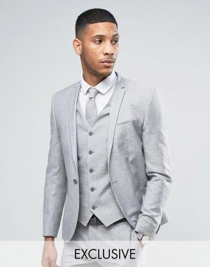 Льняной пиджак скинни в крапинку Wedding-Серый Noak