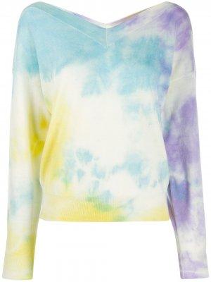 Пуловер с принтом тай-дай и логотипом MSGM. Цвет: синий