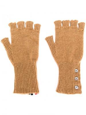 Перчатки без пальцев Thom Browne. Цвет: бежевый