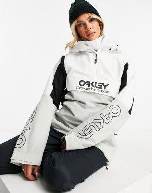 Утепленная горнолыжная куртка-анорак белого и серого цвета TNP-Белый Oakley