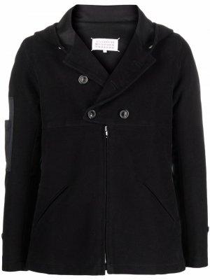 Двубортная куртка на молнии с капюшоном Maison Margiela. Цвет: черный