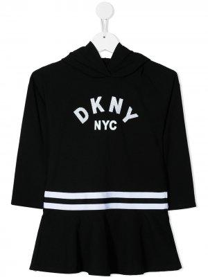 Платье-худи с логотипом Dkny Kids. Цвет: черный
