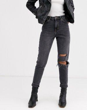 Выбеленные черные рваные джинсы в винтажном стиле -Черный Topshop