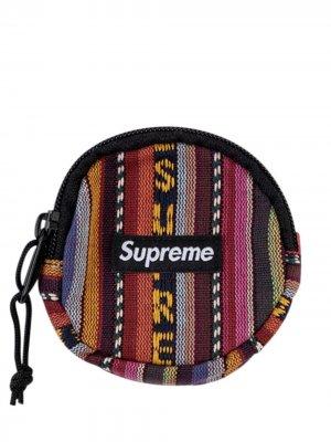 Плетеный кошелек для монет Supreme. Цвет: черный