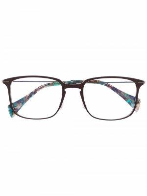 Очки в массивной оправе Yohji Yamamoto. Цвет: коричневый
