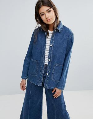 Свободная джинсовая куртка Nia Wood. Цвет: синий