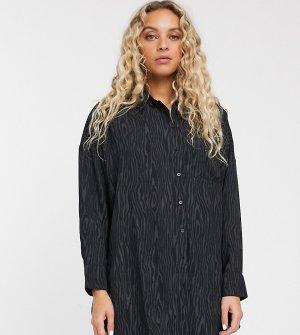 Черная атласная oversize-блузка со звериным принтом -Черный Monki