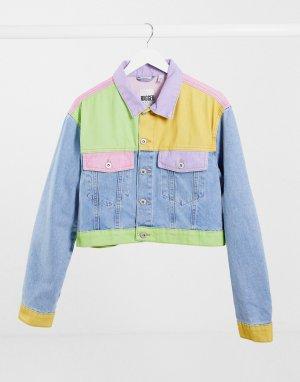 Укороченная джинсовая куртка в стиле пэчворк пастельных тонах-Многоцветный The Ragged Priest
