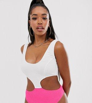 Слитный купальник для большой груди (неоново-розовый/белый) эксклюзивно от Peek & Beau