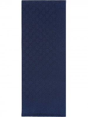 Кашемировый шарф с узором GG Gucci. Цвет: синий