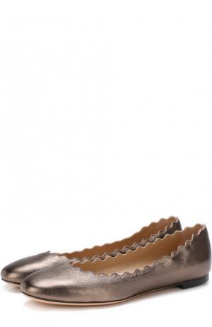 Кожаные балетки Lauren Chloé. Цвет: серебряный