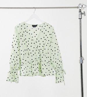 Свободная блузка в горох с завязками на манжетах Wednesdays Girl Curve-Зеленый Wednesday's Curve