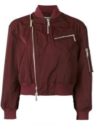 Декорированная куртка бомбер с молниями Dsquared2. Цвет: красный