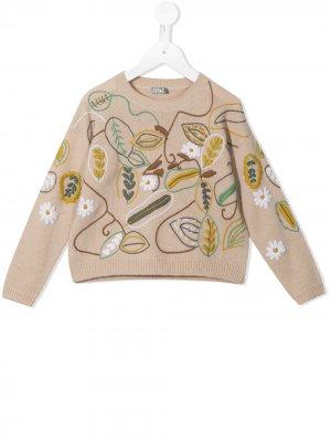 Шерстяной свитер с цветочной вышивкой Il Gufo. Цвет: коричневый