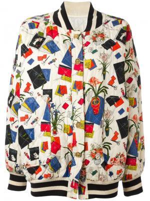 Куртка-бомбер с принтом Inès Chanel Vintage. Цвет: чёрный