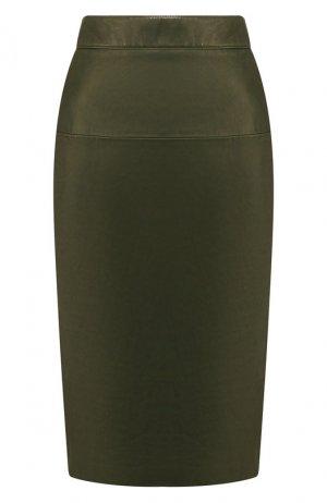 Кожаная юбка Tom Ford. Цвет: хаки