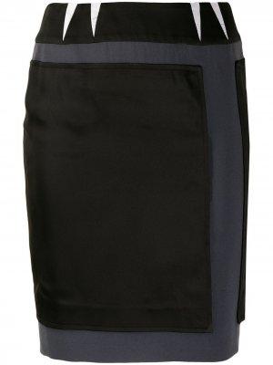 Облегающая юбка 2000-х годов с нашивками Balenciaga Pre-Owned. Цвет: черный