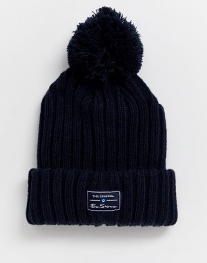 Темно-синяя шапка с помпоном -Темно-синий Ben Sherman