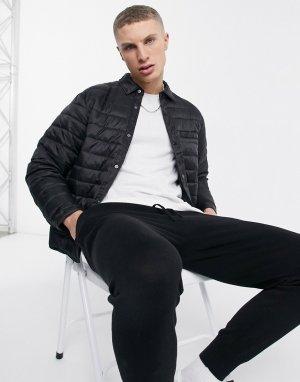 Дутая рубашка навыпуск черного цвета -Черный цвет New Look