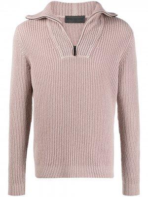 Кашемировый джемпер в рубчик с молнией Iris Von Arnim. Цвет: розовый