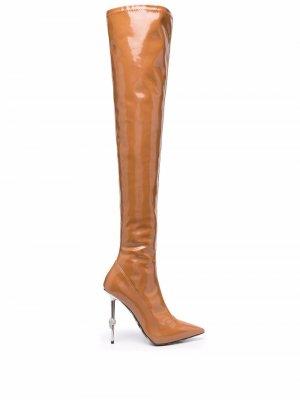 Ботфорты с заостренным носком Philipp Plein. Цвет: коричневый