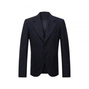 Пиджак из шерсти и хлопка Versace. Цвет: синий