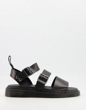 Черные сандалии с ремешками -Черный цвет Dr Martens