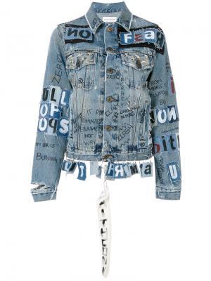 Джинсовая куртка с нашивками Faith Connexion. Цвет: синий
