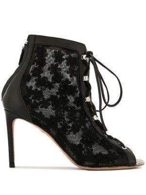 Ботильоны со шнуровкой и открытым носком Giambattista Valli. Цвет: черный