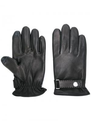 Перчатки с ремешком на кнопке Polo Ralph Lauren. Цвет: чёрный