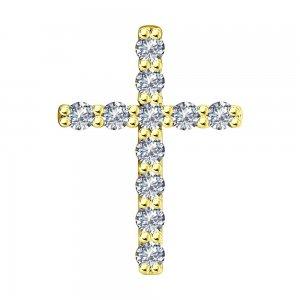 Подвеска из желтого золота с родированием бриллиантами SOKOLOV
