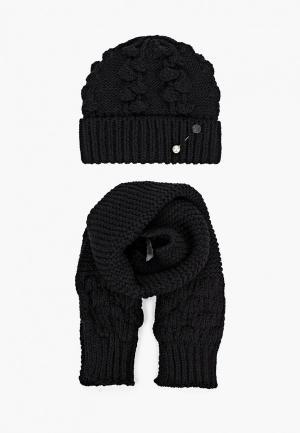 Комплект TrendyAngel шапка, брошь и шарф 30х160 см. Цвет: черный