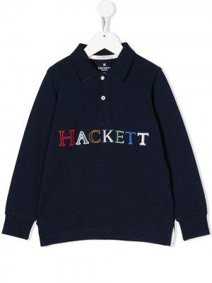 Рубашка-поло с вышитым логотипом Hackett Kids. Цвет: синий