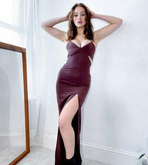Платье-майка макси шоколадного цвета на бретельках с вырезами -Коричневый Vesper Tall