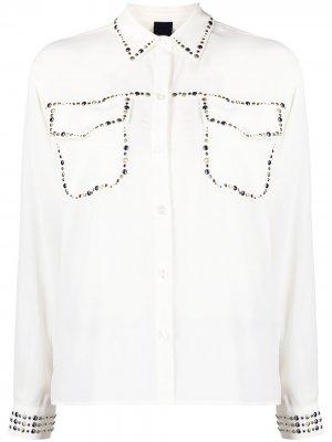 Рубашка с длинными рукавами и заклепками Pinko. Цвет: белый