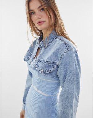 Очень короткая джинсовая куртка синего цвета -Голубой Bershka