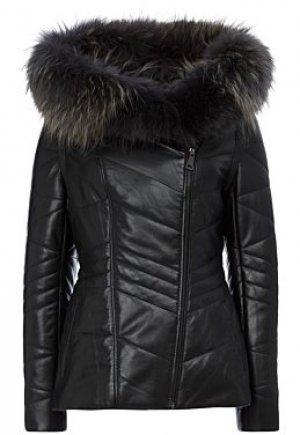Утепленная кожаная куртка с отделкой мехом песца Снежная Королева