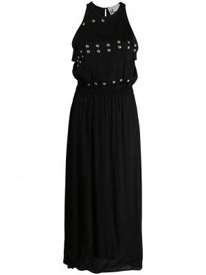 Платье макси с заклепками 8pm. Цвет: черный